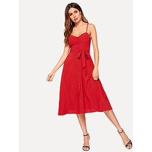 SHEIN Button Front Solid Belted Slip Dress