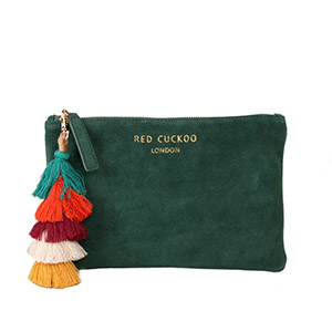 Green Suede Effect Clutch