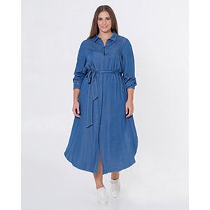 Σεμιζιέ denim φόρεμα