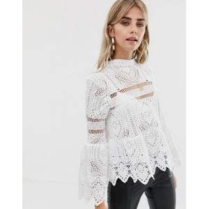 Boohoo peplum top with bell sleeve