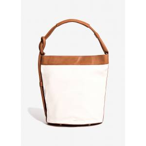 White Canvas Bucket Bag with Handle