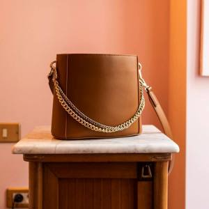 Tan Bucket Bag with Chains