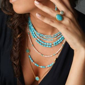 Turquoise and Pearl Long Multi Layer statement necklace