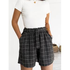 CANCUN CHECKED BLACK SHORTS
