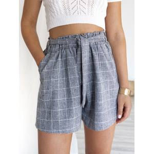 CANCUN CHECKED ICE GREY SHORTS