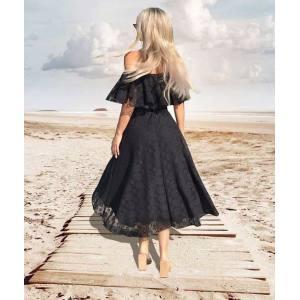 99652ea168a9 Μαύρο midi φόρεμα έξωμο δαντέλα