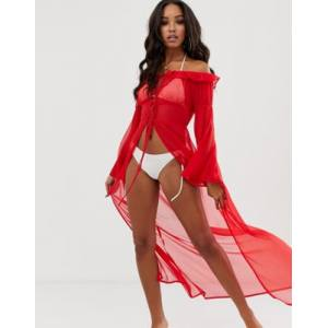 Glam off shoulder maxi beach kimono in red