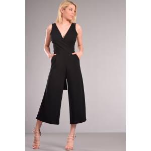 Ολόσωμη φόρμα ζιπ κιλότ μαύρη