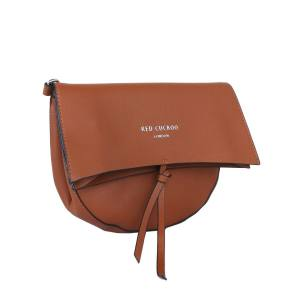 RED CUCKOO Tan half moon fold over cross body bag