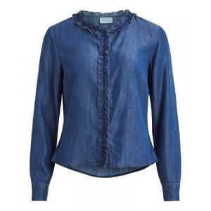 VILA Suster frill long sleeve denim shirt