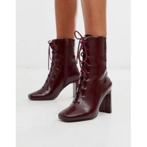 ASOS DESIGN Expression lace up heeled boots in burgundy