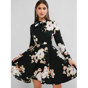 ZAFUL Long Sleeve Floral Bow Tie Mini Dress