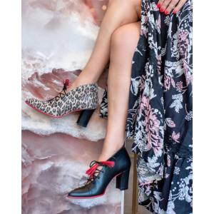 Δερμάτινα Ankle boots Art 78 Black & Animal