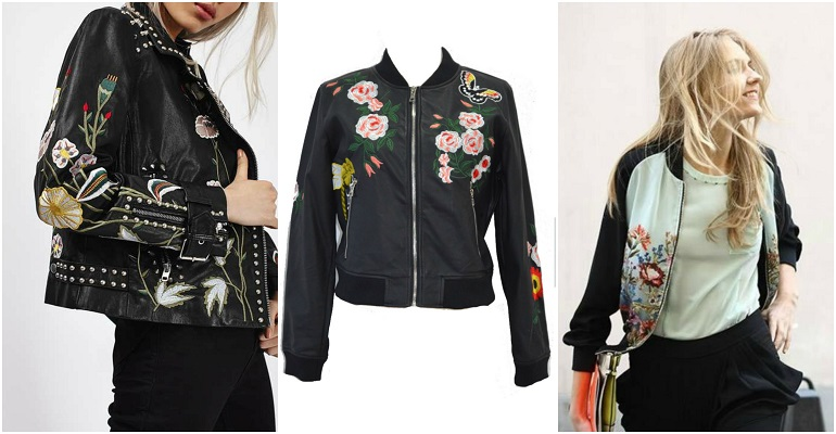 Leather Look Jacket Floral Prints